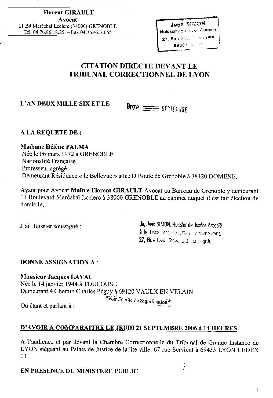 Requête Palma, page 1